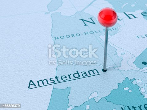 istock Amsterdam Map City Straight Pin 466326379