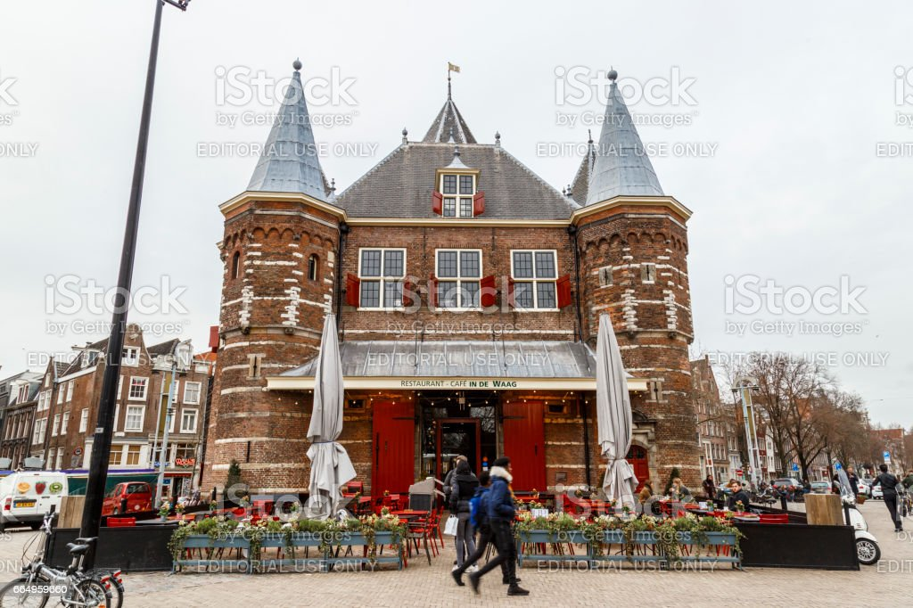 Amsterdam, March 17, 2017: Viev of The Waag where the trade center of Amsterdam stock photo