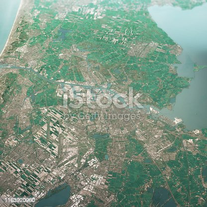 istock Amsterdam Netherlands 3D Render Aerial Landscape View From South Apr 2019 1163920960