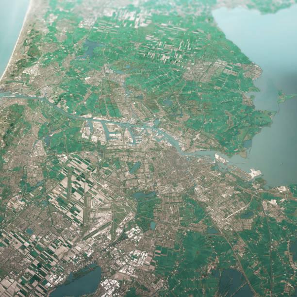 Amsterdam Niederlande 3D Render Luftlandschaft Ansicht von Süden Apr 2019 – Foto