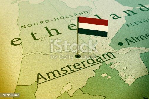 istock Amsterdam Netherlands Flag Pin Map Vintage 487223457