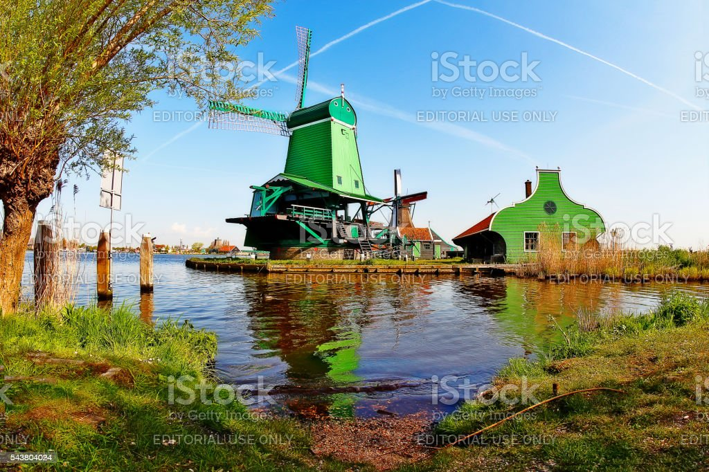 Amsterdam, Netherlands - May 04, 2016 - Dutch Windmill, Zaanse Schans stock photo