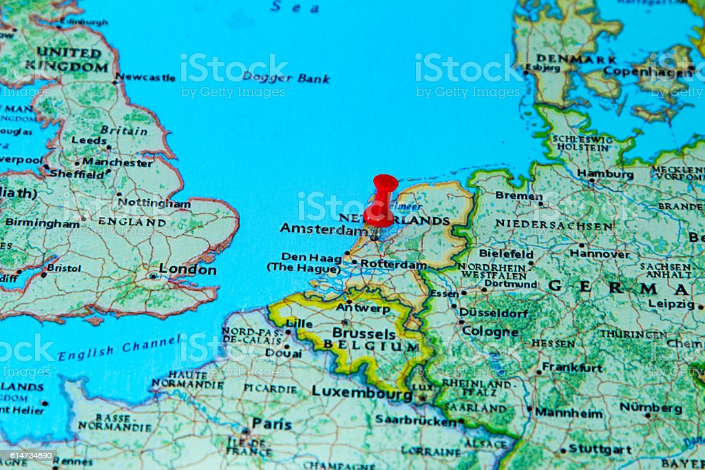 Amsterdam Netherlands Pinned On A Map Of Europe Stockfoto ...