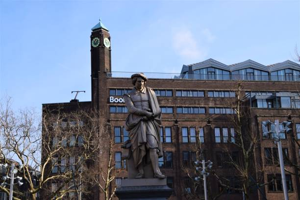 Amsterdam Netherlands Rembrandt Square travel places city break Amsterdam, Netherlands - February 23 2018: Rembrandt Square travel places city break nemo museum stock pictures, royalty-free photos & images