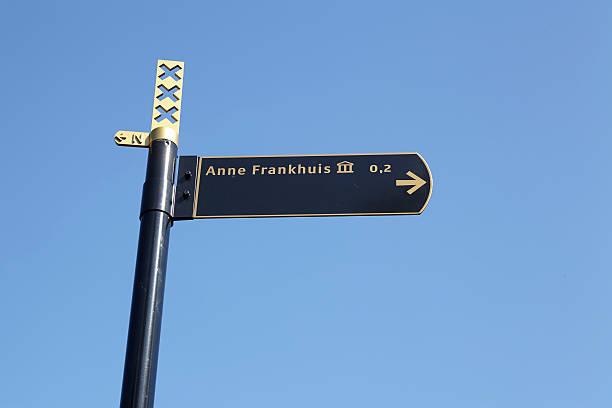 Amsterdam, Niederlande – Roadsign auf das Anne-Frank-Huis – Foto