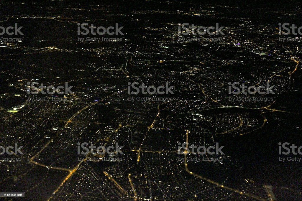 Amsterdam Night Aerial city lights stock photo
