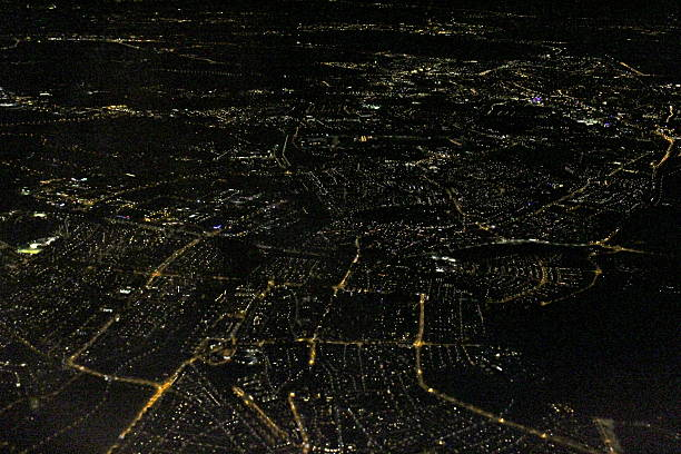 amsterdam night aerial city lights - urban sprawl stock photos and pictures