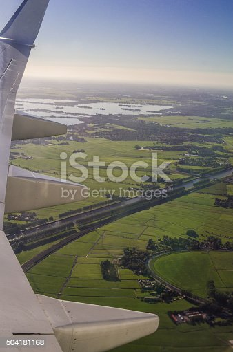 istock Amsterdam North Holland Aerial View from Airplane Porthole 504181168