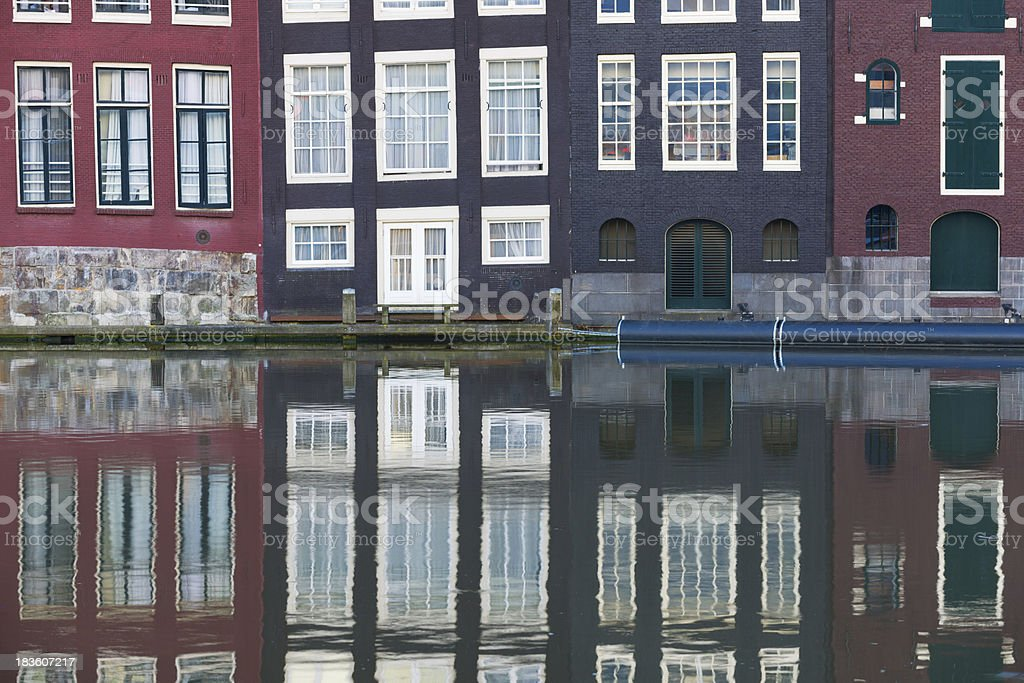 Amsterdam old houses in the evening royalty-free stock photo