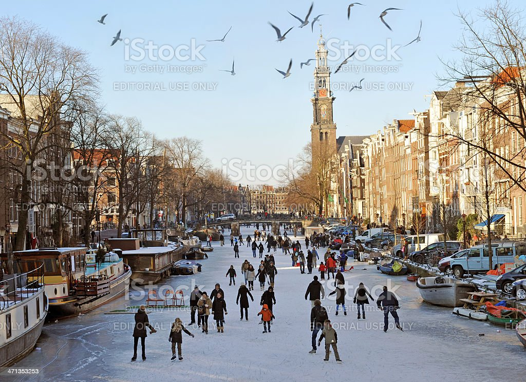 Amsterdam on ice stock photo