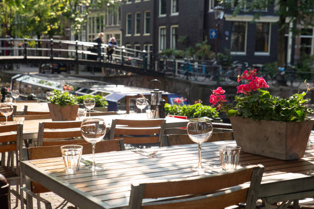 Amsterdam outdoor dining stock photo