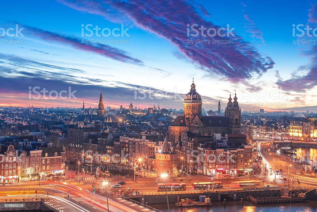 Amsterdam panorama stock photo