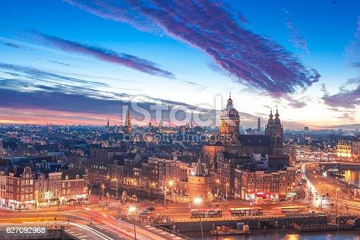 Night skyline historical center of Amsterdam, Benelux region, Europe