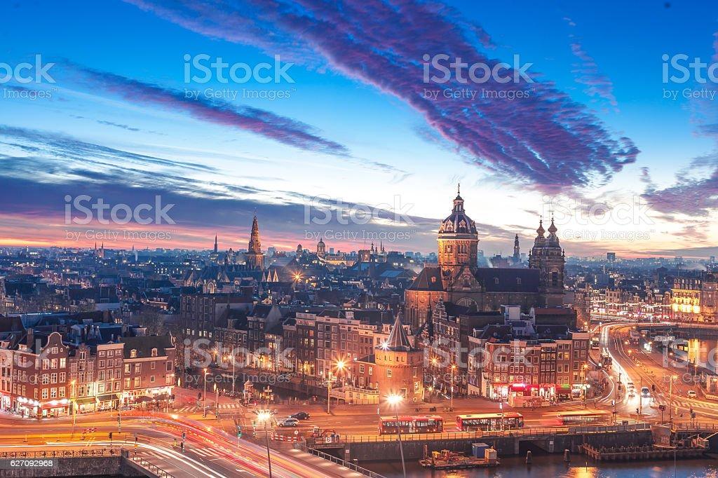 Amsterdam panorama stock photo
