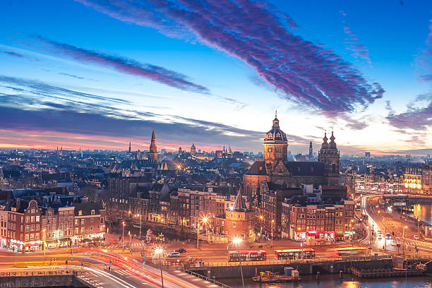amsterdam panorama - netherlands stock pictures, royalty-free photos & images