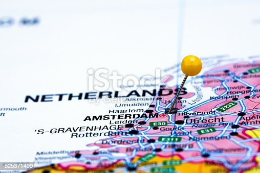 Amsterdam Pinned On A Map Of Europe Stock Photo IStock - Amsterdam map in europe