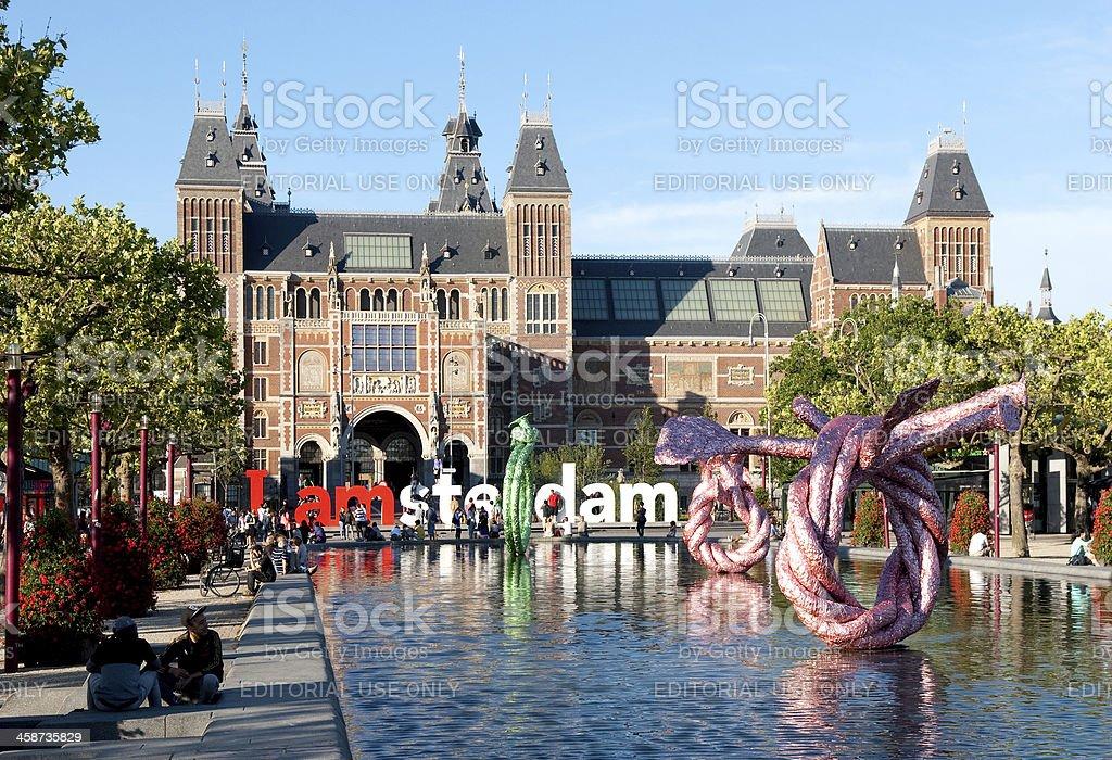 Amsterdam Rijksmuseum from Museumplein. royalty-free stock photo