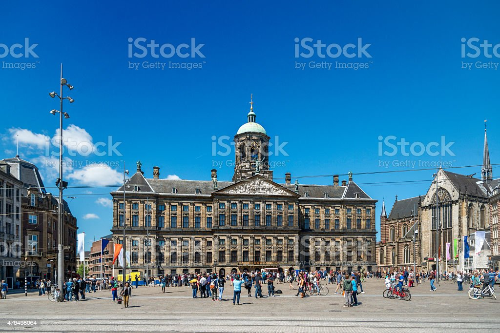 Amsterdam,  Royal Palace on the Dam, blue sky stock photo