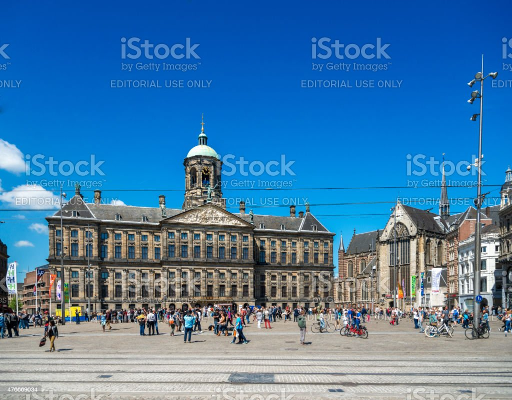 Amsterdam,  Royal Palace on the Dam, blue sky stock photo