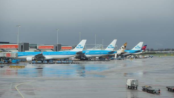 amsterdam, flughafen schiphol. 10. april 2019. viele flugzeuge am terminal - rudermaschine stock-fotos und bilder