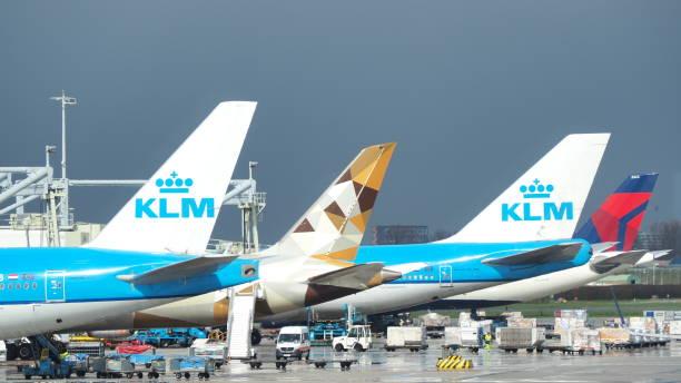 amsterdam, schiphol airport, nederland. gruppe vertikaler stabilisatoren verschiedener fluggesellschaften - rudermaschine stock-fotos und bilder