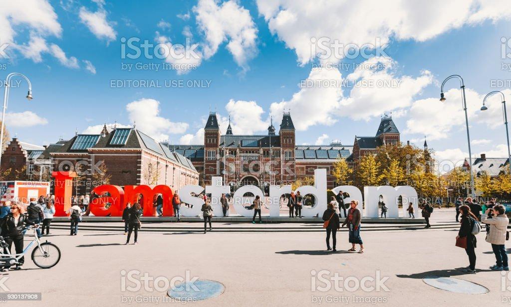 I Amsterdam sign at Museumplein, Rijksmuseum стоковое фото