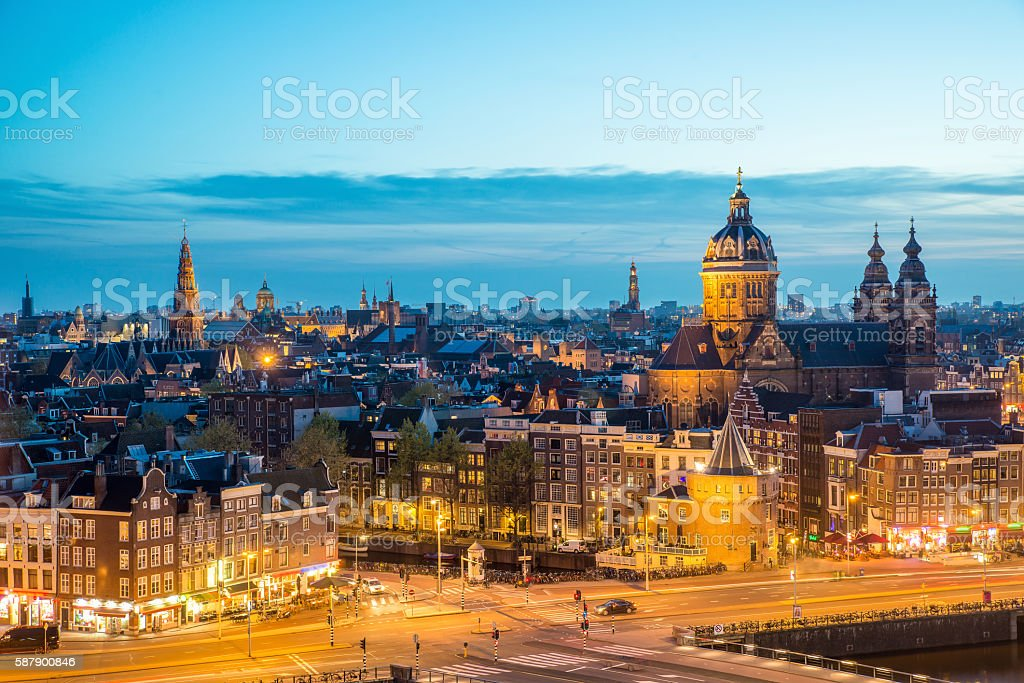 Amsterdam skyline at night, Amsterdam, Netherlands. stock photo