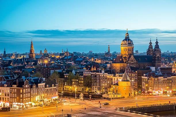 Amsterdam skyline at night, Amsterdam, Netherlands. - foto de stock