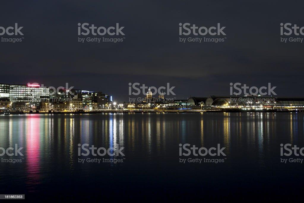 Amsterdam skyline illuminated at night royalty-free stock photo