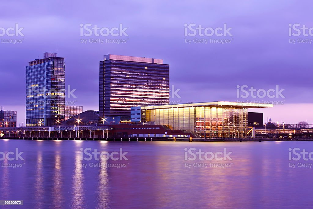 Amsterdam skyline in the Netherlands at twilight - Royalty-free Amsterdam Stock Photo