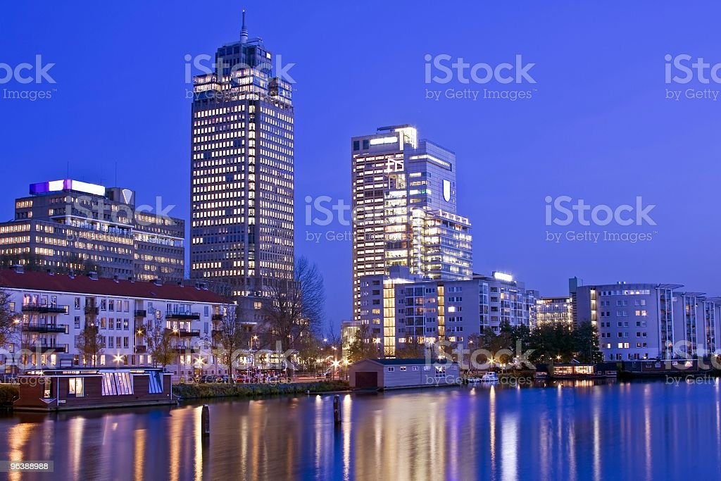 Amsterdam skyline in the Netherlands - Royalty-free Amstel River Stock Photo