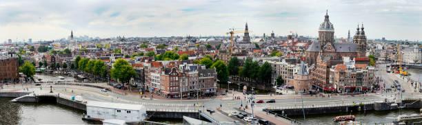 amsterdam skyline panorama - westerkerk stockfoto's en -beelden