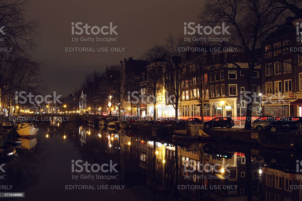 Amsterdam street at night royalty-free stock photo