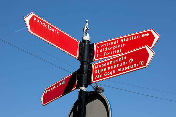 Amsterdam Street Sign Amsterdam Street Sign showing directions to the Rijksmuseum, the Centraal Train station, Vondelpark and other main attractions including the Van Gogh Museum and the tourist office. rijksmuseum stock pictures, royalty-free photos & images