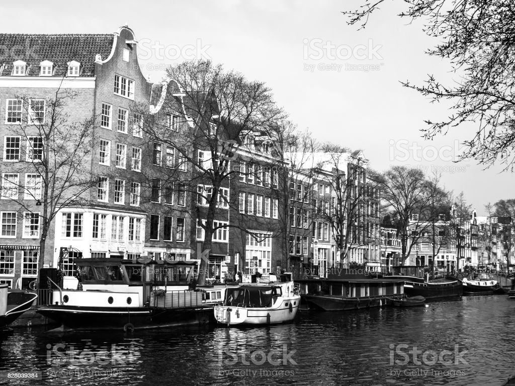 Amsterdam Streets View Of Narrow Residential Houses In Historical