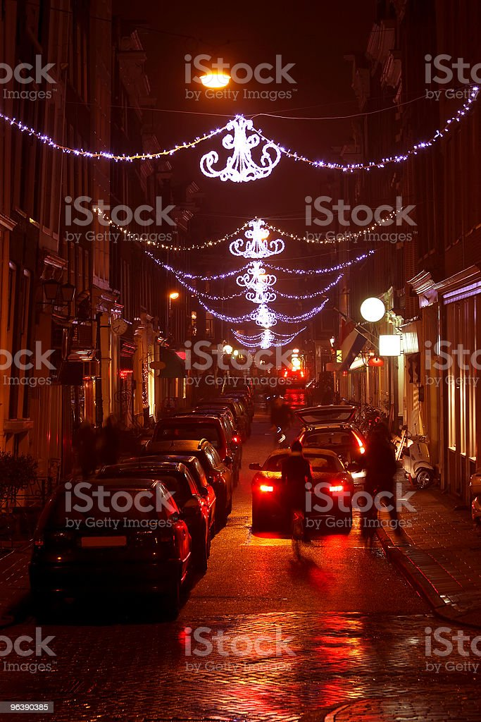 Amsterdam streetview with christmas decoration in the Netherlands at night - Royalty-free Amsterdam Stock Photo