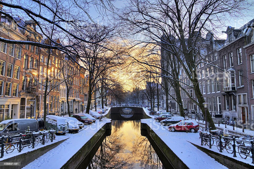 Amsterdam sunrise canal stock photo