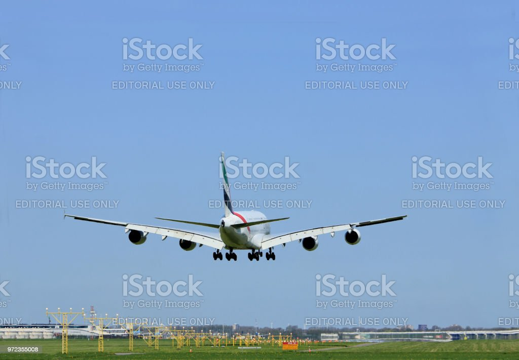 Amsterdam the Netherlands - April, 21st 2018: A6-EEE Emirates Airbus A380-800 on  final approach to Schiphol Aalsmeerbaan runway Amsterdam Airport Schiphol stock photo