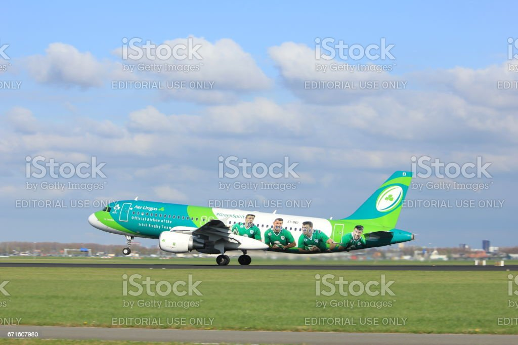 Amsterdam the Netherlands - April 7th, 2017: EI-DEI Aer Lingus stock photo