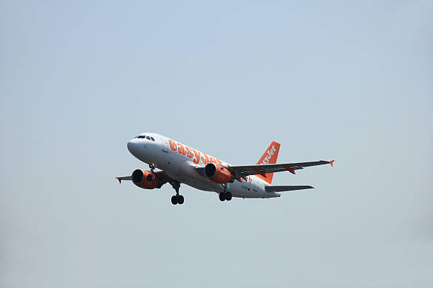 amsterdam, the netherlands - june 12 2015: g-ezff easyjet airbus - aviation and environment summit stock photos and pictures