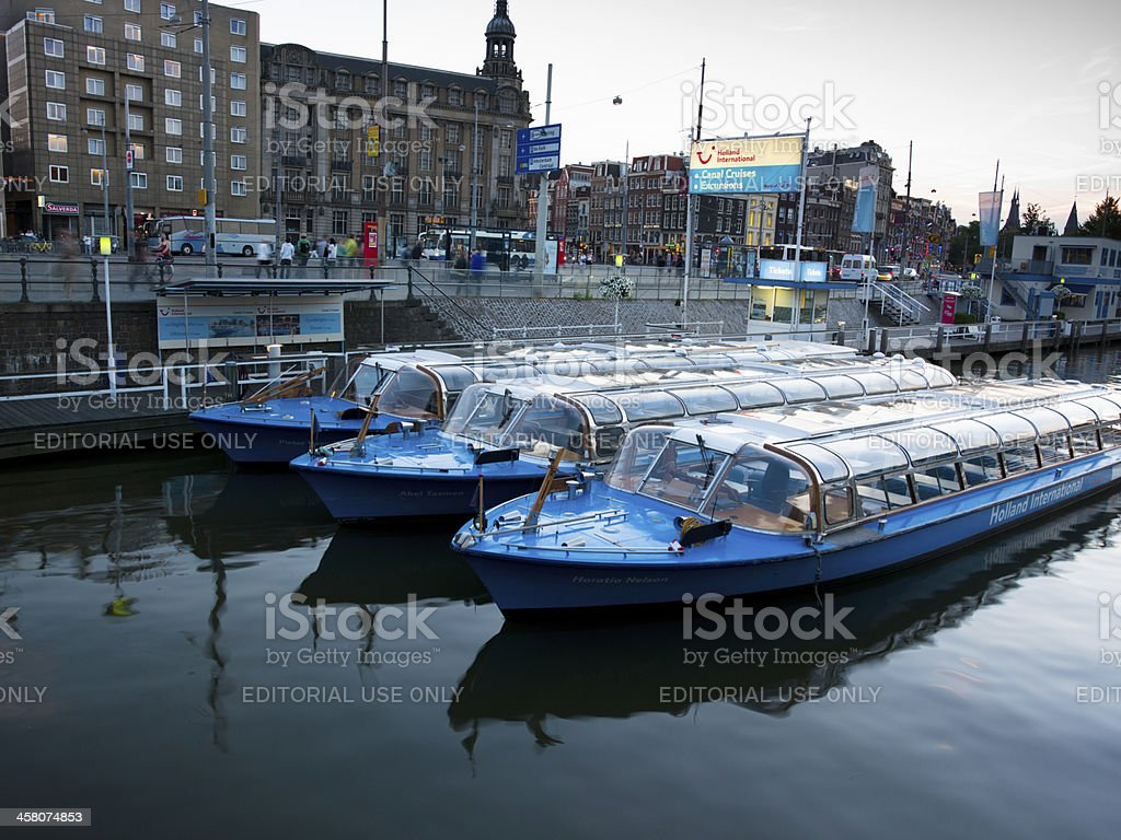 Amsterdam Tourist Boats royalty-free stock photo