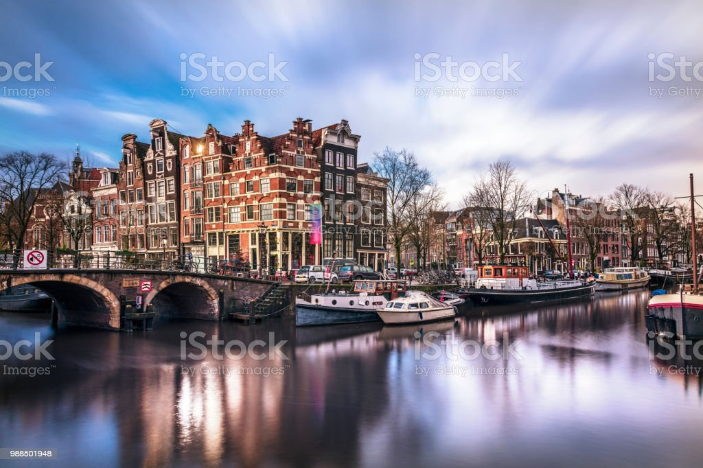 Amsterdam Tranquil Canal Scene, Netherlands stock photo
