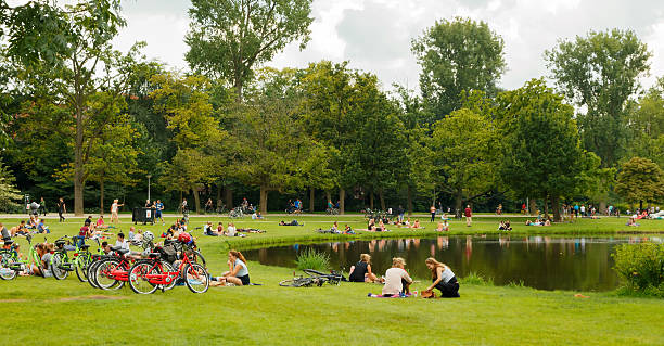 Amsterdam. Vondelpark. stock photo