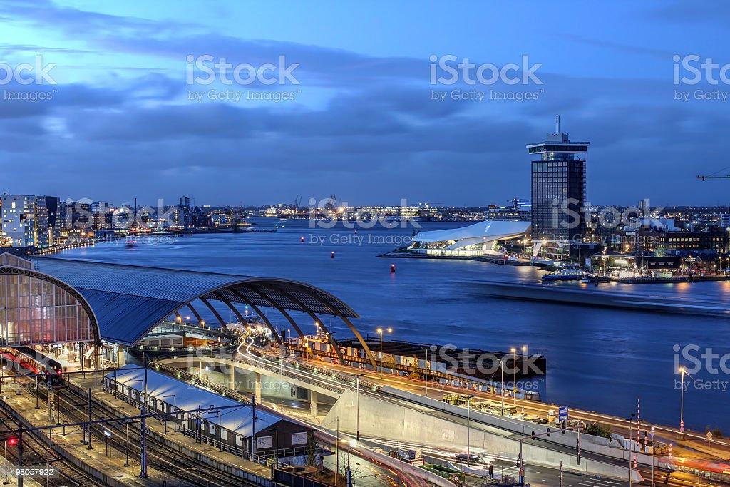 Амстердам, Нидерланды) и видом на береговую линию стоковое фото