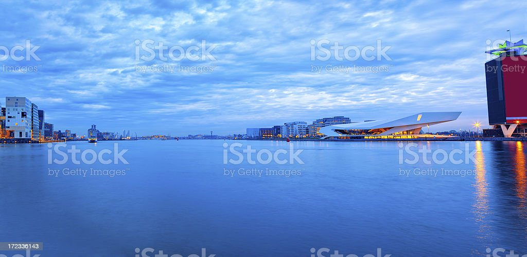 Amsterdam waterfront panorama with Dutch Film Institute EYE stock photo