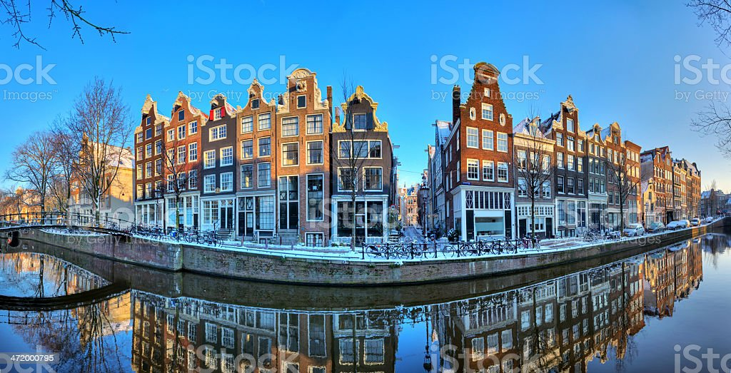 Amsterdam winter canal panorama stock photo