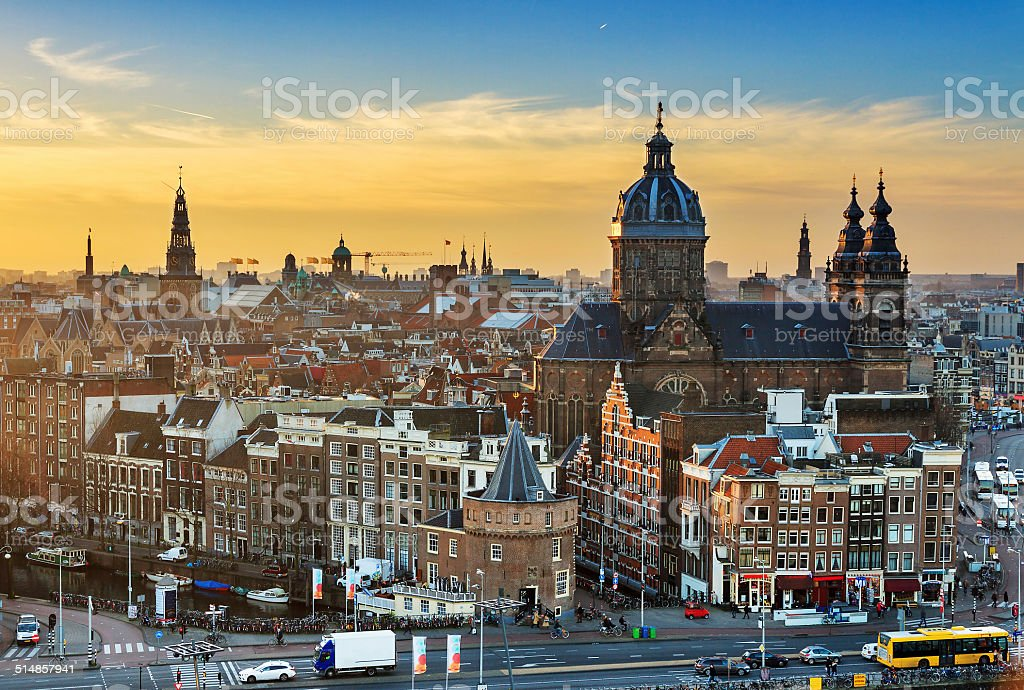 Amsterdam winter cityscape stock photo