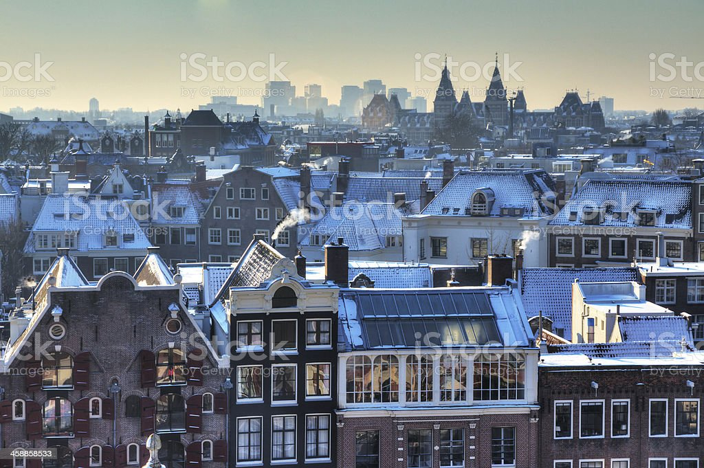 Amsterdam winter skyline stock photo