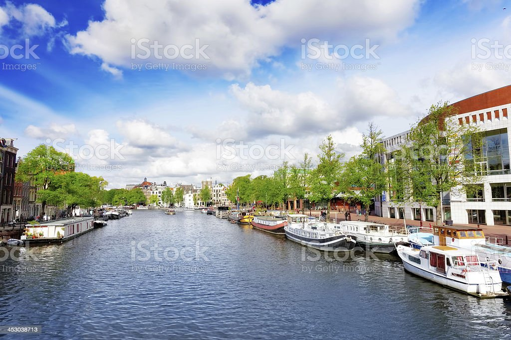 Amsterdam with canal in the downtown,Holland. royalty-free stock photo