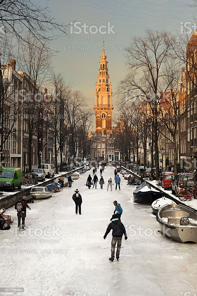 Amsterdam with ice on the canals stock photo